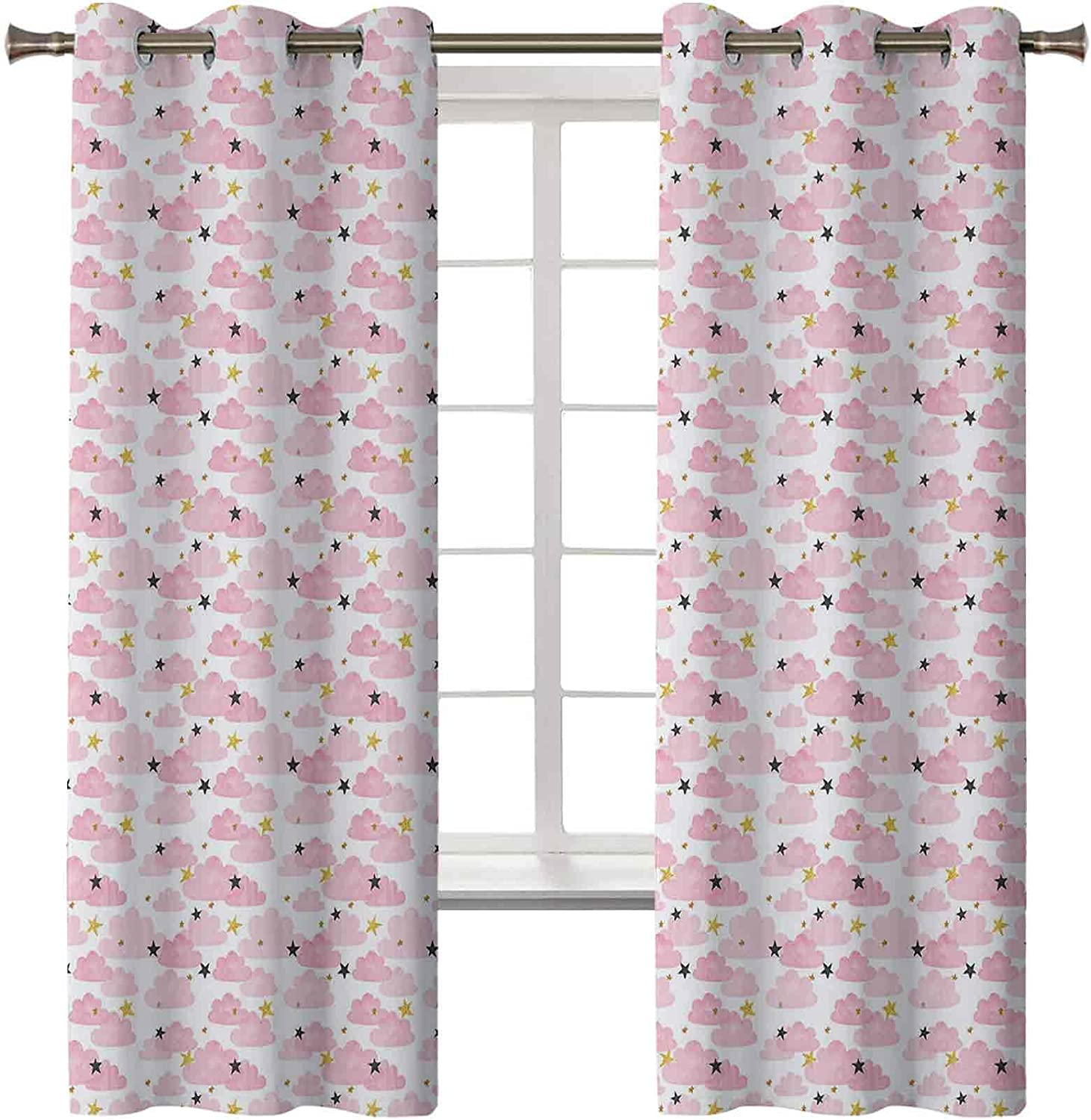 Cloud Thermal Our shop OFFers the best service Insulated Curtains Yellow Outlet SALE Golden Fluff Stars Tone