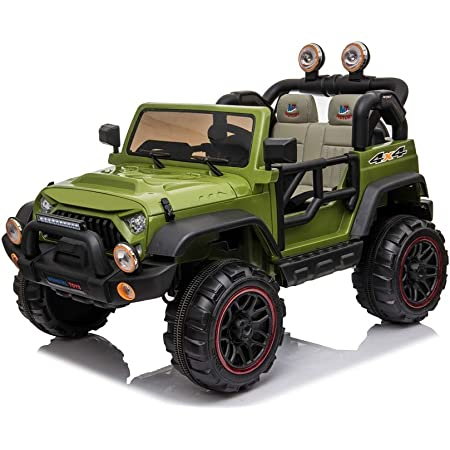Mondial Toys Auto ELETTRICA 12V per Bambini 2 POSTI Maxi Fuoristrada con Telecomando 2.4G Soft Start AMMORTIZZATORI Full Optional Verde Militare