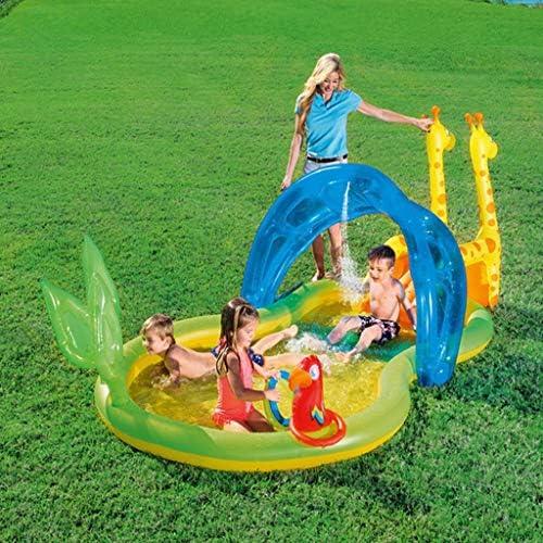 Der Ocean Ball Pool Von Animal World Für Kinder, Mit Rutschen, Ringspielzeug Und Markisen, Kann Mit Wasser 338X167X129cm Besprüht Werden, Aufblasbarer Kinderpool, Familienpool, 201L