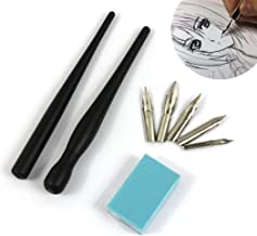 Hillento conjunto de dibujos animados cómic manga de inmersión pluma, dibujo herramienta kit de pintura, dos mangos porta lapiceros negros, cinco puntas, un trozo de goma de dibujo