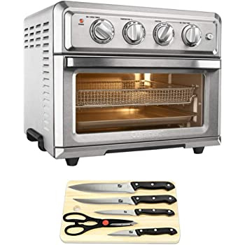 Cuisinart Convection Toaster Oven Air Fryer with Light Silver (TOA-60) Triple Rivet Collection 2-Piece Knife Set & Home Basics Two-Tone Bamboo Cutting Board