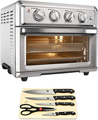 Cuisinart Convection Toaster Oven Air Fryer with Light Silver (TOA-60) Bundle with Home Basic 5-Piece Knife Set with Cutting Board