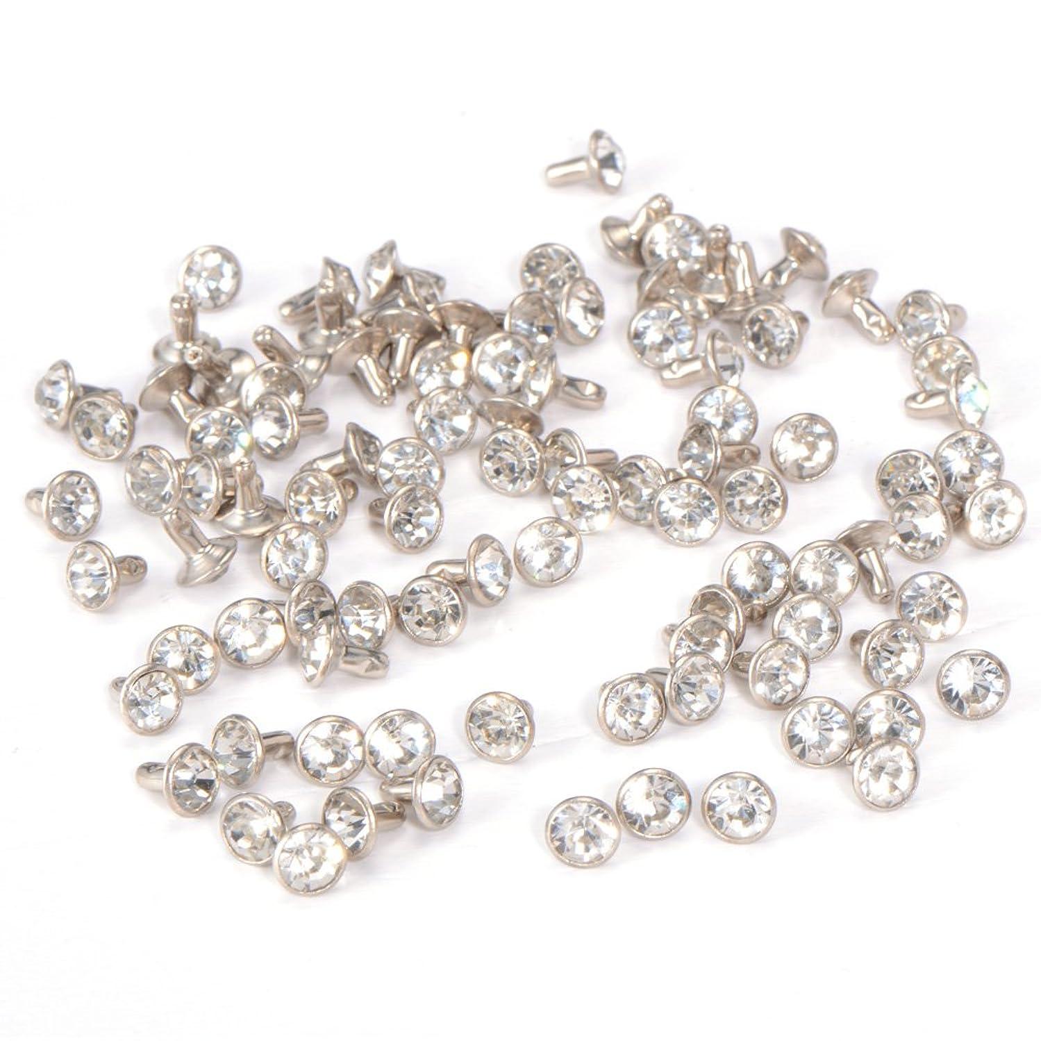 100pcs 7mm Diamante Diamond Clear Silver Crystal RIVET STUDS PUNK