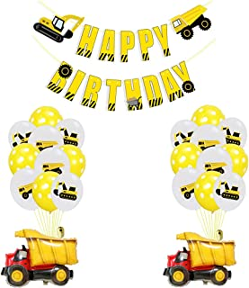 Construction Vehicles Birthday Party Supplies,Excavator Happy Birthday Banner Truck Aluminium Foil Balloons for Kids Birthday Party
