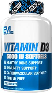 Evlution Nutrition Vitamin D3, 5000 IU High Potency, Bone and Joint Support, Heart and Immune System Health, Non-GMO and G...