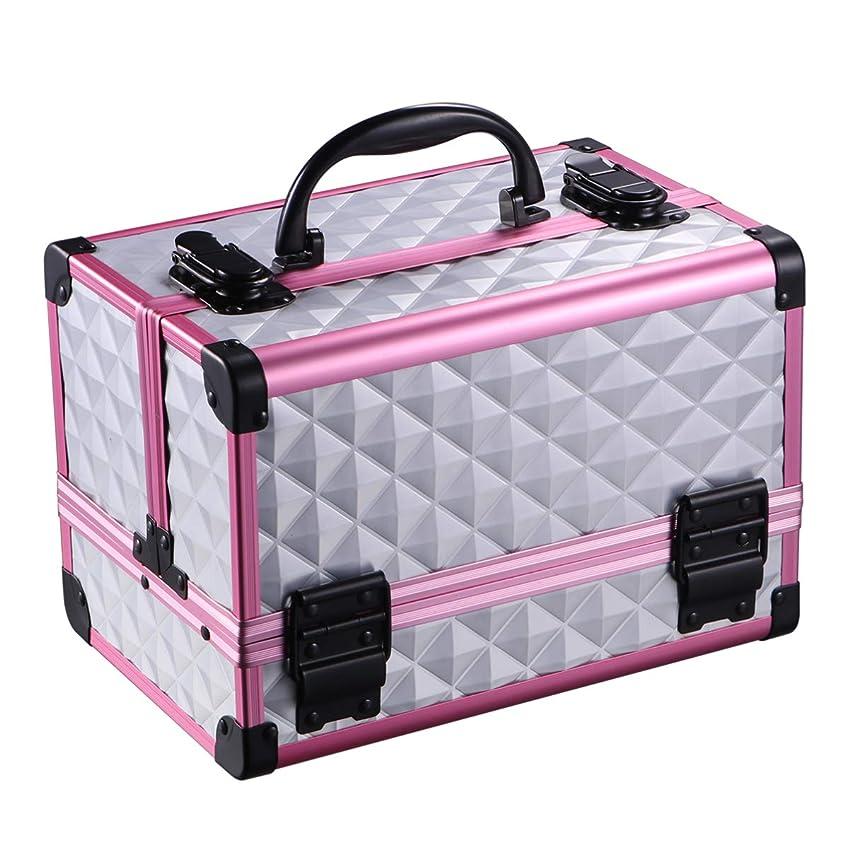 故意に雨のデンマーク語Lurrose ポータブル旅行化粧ケース多機能旅行化粧品バッグ列車化粧ケースジュエリーボックスミラー付き