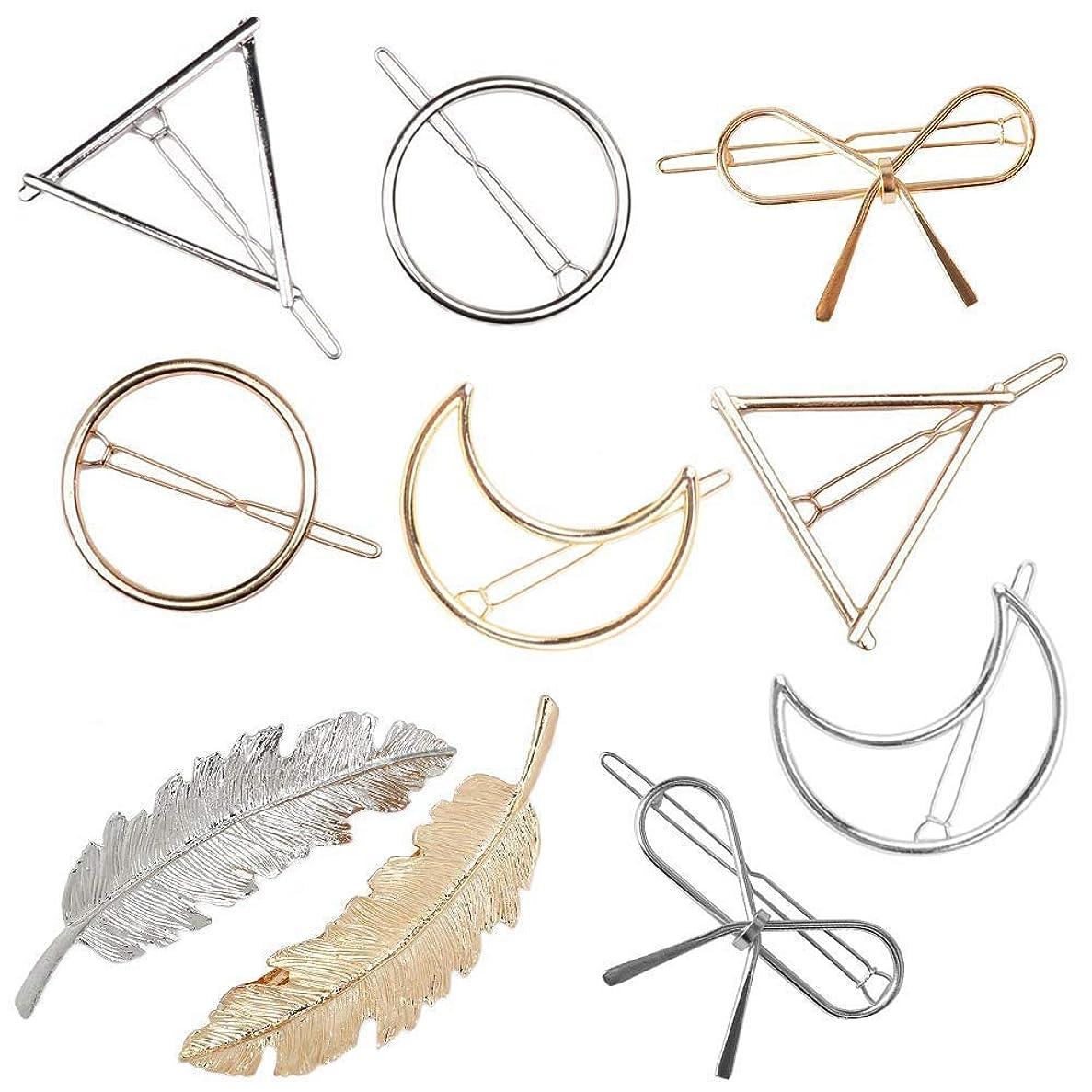 私たちのものシャット組み合わせTOOGOO 女性用ヘアクリップ、金属のヘアクリップ、フェザー、バタフライ、中空、丸型、三角形、月、中空ポニーテールのバレッタ、ピン、クリップ、ミニマリスト、個性的なヘアアクセサリー