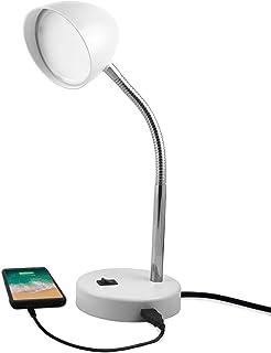 MaxLite LED Desk Lamp with USB Charging Port, White Desk Lamp, Adjustable Neck, On/Off Switch, Modern Table Lamp for Reading, Work or School, Warm Gentle Light