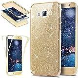 Funda Compatible con Samsung Galaxy J5 2015 360 Grados Integral Ambas Carcasa,Funda 360 Full Body Completa Cas Glitter Brillante Paillettes 3 en 1 Funda Ultra Delgado Doble Silicona Gel Funda,Dorado