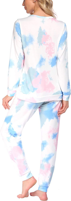 ADOME Womens Pajama Set Long Sleeve Sleepwear Soft Pjs Lounge Sets Start Print Cotton Nightwear S-XXL