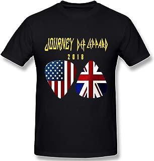 Men's Logo Print of Tour 2018 Journey Def Leppard Regular Short Sleeve T Shirts Black