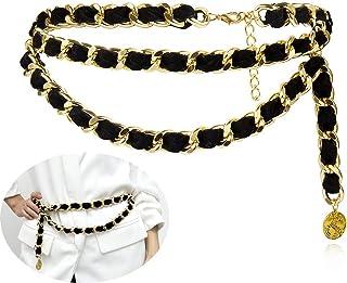 Jurxy Alloy Waist Chain Body Chain Weave Rope Winding Twist Chain for Women Waist Belt Pendant Belly Chain Adjustable Body...