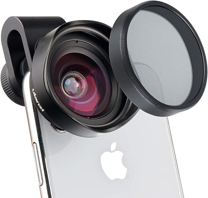 ULANZI Lente de la cámara del teléfono Gran Angular 16 mm con Filtro CPL Universal para iPhone X XR XS MAX 8 7 6S Plus Samsung Galaxy S10 S9 (Clip de 17 mm)