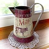 Antikas - lechera Vintage con Vaca - jarro de Leche - lechera Decorativa Estilo...