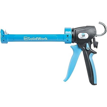 SolidWork pistolet silicone professionnel avec levier réglable dans un rapport de 24:1 ou 12:1 - Pistolet mastic de silicone pour traiter toutes les cartouches de silicone et d'adhésif de 310ml