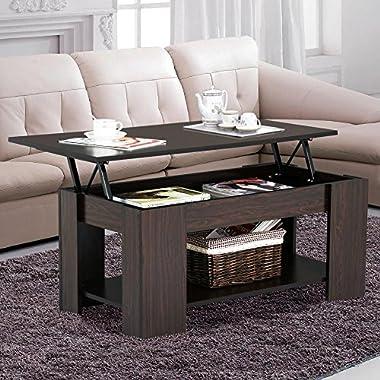 Yaheetech Grade E1 MDF & Iron Lift-up Top Coffee Table w/Hidden Storage Compartment & Shelf Espresso