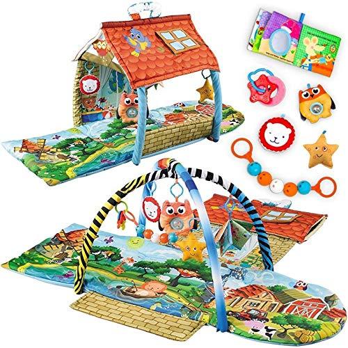 Lionelo Agnes 2in1 Spielmatte, Erlebnismatte mit einem Haus, Spielzeuge, ab Geburt nutzbar