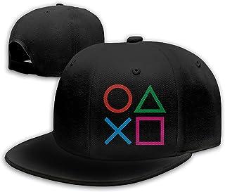 Playstation Joypad Snapback Flat Bill Baseball Cap Men's Black