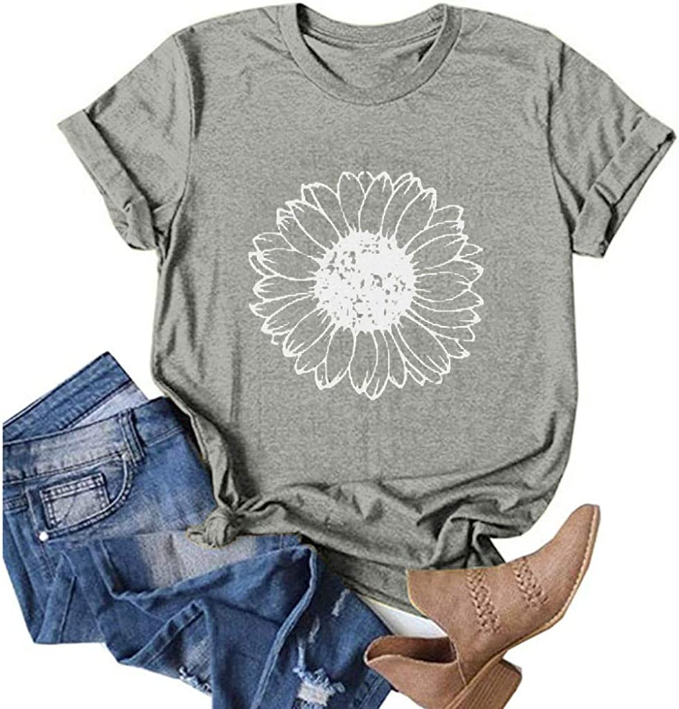 Short Sleeve Shirts for Women,Womens Casual Summer Letter Cute Graphic Short Sleeve T Shirts Tees Tops Tunics Blouses