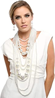 1920s Multi-Layer Simulated Pearl Great Gatsby Bridal Costume Necklace Strands and Earring Jewelry Set