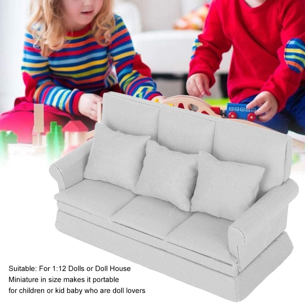 Haokaini Mini Dollhouse Sofa 1//12 Scale Dolls House Armchair Furniture Sofa Couch with 3 Removable Cushions Fit for Barbie Dolls House Girls Birthday Gift