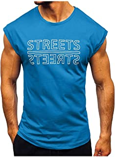 17 Tank Tops for Men Cotton Blend Fitness Muscle Sleeveless T-Shirts O-Neck Solid Color Bodybuilding Vest EAZsyn8