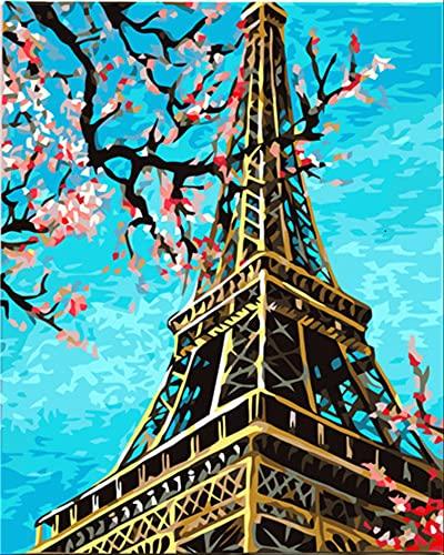 Pintura por números paisaje DIY sobre lienzo pintado a mano para colorear por números para adultos Torre regalo decoración del hogar A5 40x50cm
