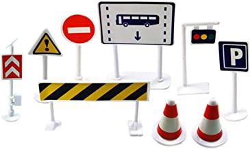 Jersh☆ Car Toy Accessories Traffic Road Signs Kids Children Play Learn Toy Game Children'S Model Parking Lot View 9-Piece Set Of Traffic Light Signs Road Sign, Roadblock, Traffic Sign (White)