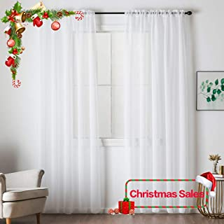 MIULEE White Linen Textured Sheer Curtain for Bedroom/Living Room Large Semi Transparent Farmhouse Window Net Panels with Rod Pocket for Christmas 2 Pieces W 54 x L 108 inches Long