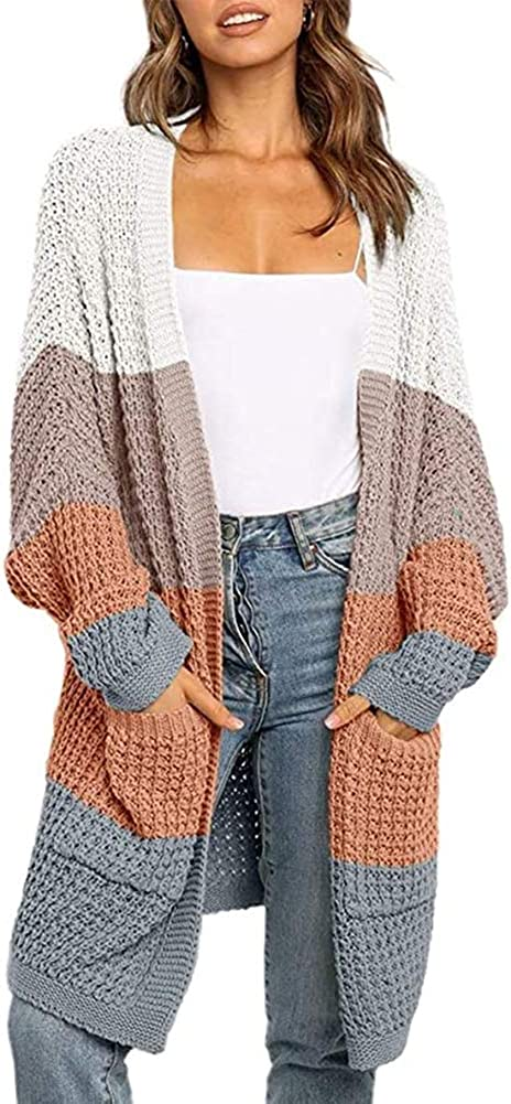 TOJONOZO Women's Casual Open Front Long Sleeve Knit Cardigans Sweater Outerwear Blouses with Packets (Color C, Small)