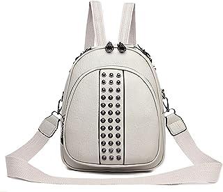 حقائب الظهر النسائية الصغيرة ذات الجودة العالية من Hanyuemin حقائب كتف جلدية بدون أكمام (اللون: بيج)
