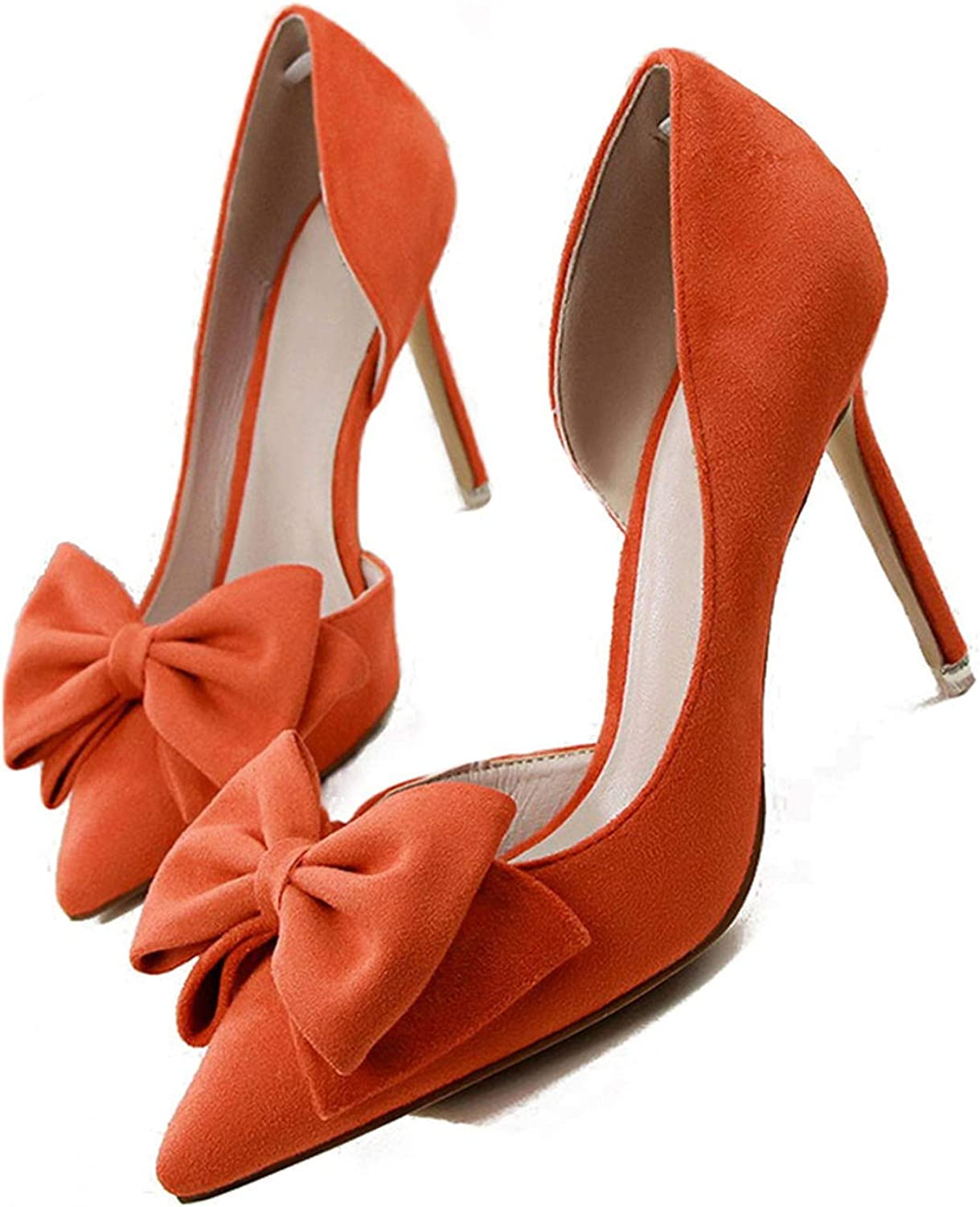 Monica's house Sweet Bowtie Pointed Toe for Women Party Wedding Butterfly-Knot Side Hollow Women High Heel shoes,orange,7