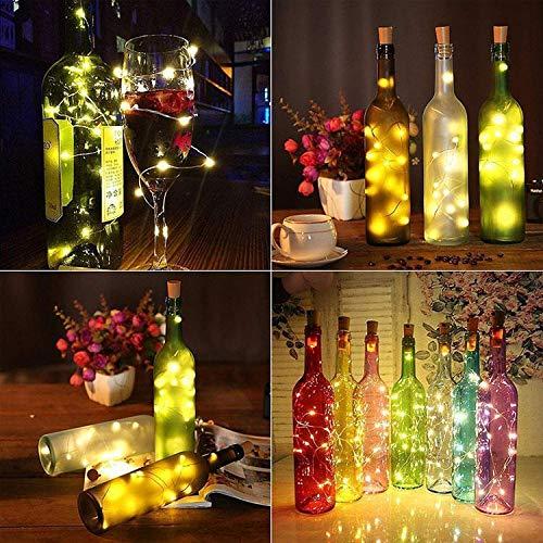 N|A String led Wine Bottle with Cork 20 LED Bottle Lights Battery Cork for Party Wedding Christmas Halloween Bar Decor Warm White (118in 30 lamp, Blue)