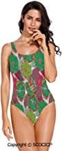 SCOCICI Swimsuit Bikini Tropical Blossom Caribbean in Exotic Tones Hyacinth Hip