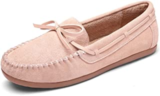 HWF レディースシューズ 春のピーズの靴女性フラットシューズペダル女性の靴カジュアルシューズ怠惰な運転靴 ( 色 : ピンク ぴんく , サイズ さいず : 38 )