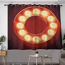 DGGO Waterproof Window Curtains,Letter O Entertainment World in Vegas Theme Vintage Casino Nightclub Theater Typeset,Blackout Draperies for Bedroom,W55x39L Ruby Yellow Black