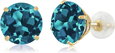 Earring JACKETS for Studs 14K Solid Gold Handmade Dangling London Blue Topaz Gemstone Rectangle for Diamond Post Earrings JD14KLBT7X5RECT