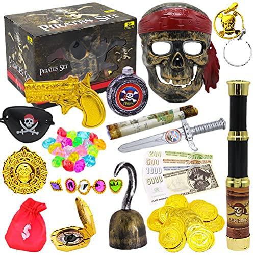 Dan&Dre Conjunto de brinquedos de baú de tesouro pirata de Halloween, bússola, telescópio, caixa de tesouro, suprimentos de festa de pirata, decoração de festa de jogos, o melhor presente para bebês
