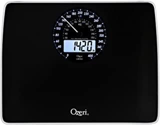 ZB23-B Ozeri Rev Digital Bathroom Scale with Electro-Mechanical Weight Dial Black