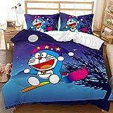 Amacigana Ropa de cama Doraemon 3D Anime Juego de ropa de cama, 1 funda nórdica + 2 fundas de almohada, microfibra, para niñas y niños (A14,220 x 240 cm + 50 x 75 cm)