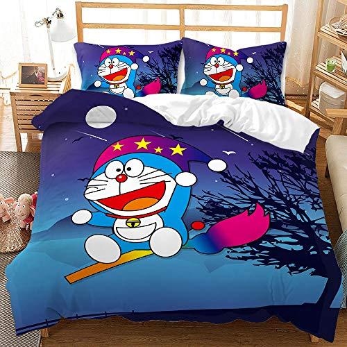 Amacigana Ropa de cama Doraemon 3D Anime Juego de ropa de cama, 1 funda nórdica + 2 fundas de...