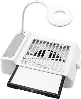 Colector de polvo de succión de uñas 2 en 1 + Luz LED, Aspirador de uñas ajustable + Lámpara de escritorio, Secador de uñas Ventilador Máquina extractora para uñas gel acrílico (BLANCO)