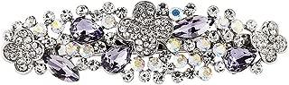 Bridal Hair Barrette Rhinestone Crystal Clip Wedding Art Deco Flower Vine Barrettes (Silver Metal)