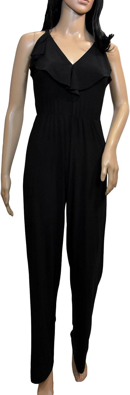 Bebe Womens Ruffle Cross Back Jumpsuit Dress