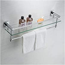 QIQI-JZX Wall-Mounted Bathroom Shelf Tempered Glass with Rail and Towel Bar, All Copper Reinforced Material (Size : 40cm)