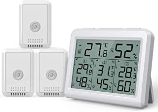 AMIR Indoor Outdoor Thermometer, 3 Channels Digital Hygrometer Thermometer with 3 Sensor, Humidity Monitor Wireless with L...