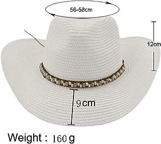 Lady's Sun hat Fashion Western Cowboy Hat Women Men Straw Sun Hat Outside Seaside Sun Visor Colouring Braided Rope Beach Hat Sun hat (Color : White, Size : 56-58CM)