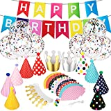 Tenare 22 Pieces Party Hats Birthday Party Hats Crown Cone Hats DIY Party Favours Hat with Pom Pom and Colorful Happy Birthday Banner Bunting with 10 Pieces Balloons for Adult Teens Birthday Party Decoration