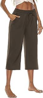 DIBAOLONG Womens Capri Pants Wide Leg Crop Pants Loose Comfy Drawstring Lounge Pajama Yoga Capris for Women with Pockets