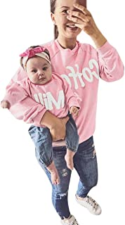 Mommy and Me Parent-Child Letter T Shirt Family Matching Clothes Outfits